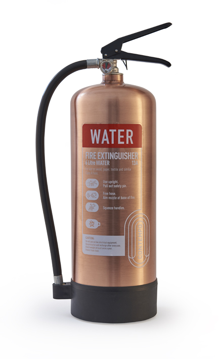 brushed copper fire extinguisher