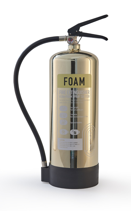 Gold chrome fire extinguisher