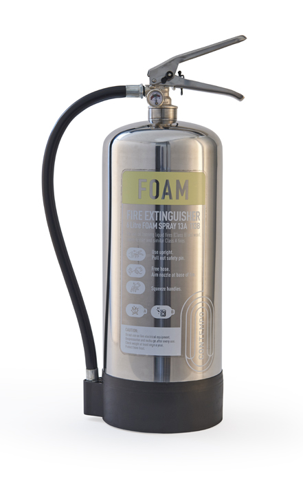 Polished stainless steel fire extinguisher
