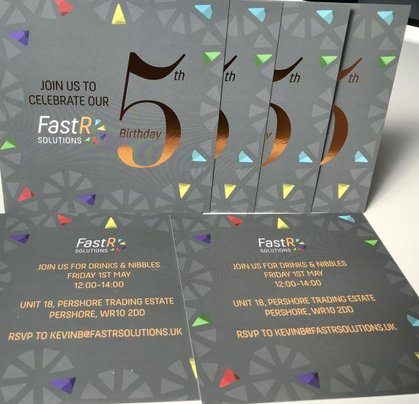 Fast R Solutions 5th Birthday Party Invite